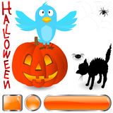 Blue bird and halloween elements. Royalty Free Stock Photography