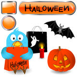 Blue bird with halloween elements. Royalty Free Stock Photo