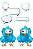 Blue Bird - Hands On Hips. A cartoon blue bird with 5 speech bubbles Stock Image