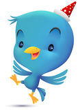 Blue Bird with hat do dancing Royalty Free Stock Image