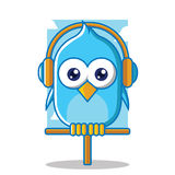 Blue bird with headphone Royalty Free Stock Photos