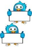Blue Bird - Holding A Blank Sign Stock Photos