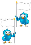 Blue Bird - Holding A Flag. A cartoon blue bird Illustration Stock Image