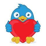 Blue Bird Holding Heart Love. Clipart Picture of a Blue Bird Cartoon Character Holding Heart Love Stock Photos