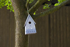 Blue bird house. Waiting for new occupants Stock Images