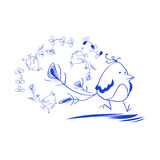 Blue bird in a hurry. Blue bird clipart  line drawing illustration Royalty Free Stock Image