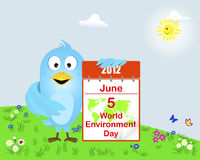 Blue Bird with the icon calendar. World Environment Day.  Blue Bird with the icon calendar on the lawn with flowers, grass and ladybug. Vector illustration Royalty Free Stock Image