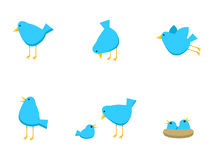 Blue Bird Icons. A set of blue bird icons stock illustration