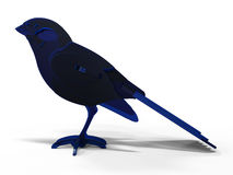 Blue bird illustration. 3D rendered illustration of a blue bird. The composition is isolated on a white background with shadows Royalty Free Stock Photos