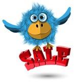 Blue Bird with the inscription. Illustration of a Blue Bird with the inscription sale Royalty Free Stock Photos