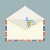 Blue bird inside mail Royalty Free Stock Image