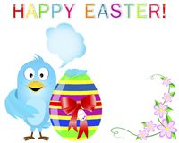 Blue Bird keeps a cute easter egg. Blue Bird with speech bubble keeps a cute easter egg with a red bow and a tag. Vector illustration Stock Images