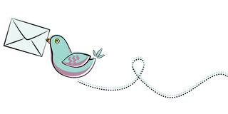 Blue bird with letter. Illustration of  blue bird with letter Stock Photo