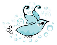 Blue bird logo. Illustration of a whimsy blue bird logo stock illustration