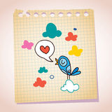 Blue bird love message note paper cartoon sketch Royalty Free Stock Photo