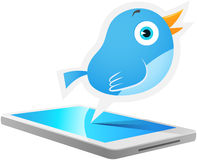 Blue Bird Mobile. Illustration of Blue Bird talking out from smart phone Royalty Free Stock Photos