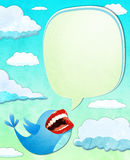 Blue bird with mouth ready to deliver a message. Blue bird with real mouth ready to deliver a message Royalty Free Illustration
