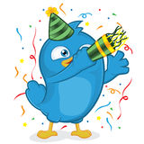 Blue Bird Party. Clipart Picture of a Blue Bird Cartoon Character Party Stock Photo