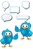Blue Bird - Presenting. A cartoon blue bird with 5 speech bubbles Royalty Free Stock Images