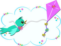 Blue Bird with Purple Kite Royalty Free Stock Photo