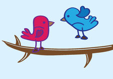 Blue Bird and Red Bird on Tree Branch Cartoon Vector Royalty Free Stock Images