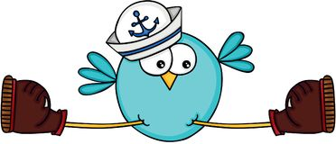 Blue bird with a sailor hat Stock Image