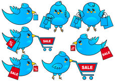 Blue bird shopping, vector Royalty Free Stock Photography