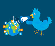 Blue bird is shouting through a megaphone on the. Planet. Contains EPS10 and high-resolution JPEG Royalty Free Stock Images