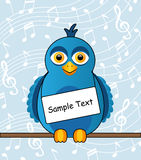 Blue bird with a sign. Cartoon blue bird with a sign around his neck Stock Photography