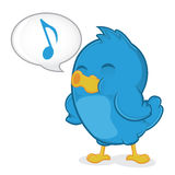 Blue Bird Singing. Clipart Picture of a Blue Bird Cartoon Character Singing Stock Images