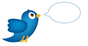 Blue bird with speech bubble Royalty Free Stock Photography