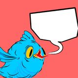 Blue bird and speech bubble. Birdie and place for text. cartoon. Style Royalty Free Stock Photo