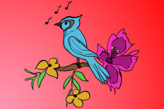 Blue bird standing on a branch with yellow leafs and purple bloom in cartoon style with music notes on red colored gradient. Background. Blue cartoon parrot on vector illustration