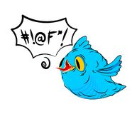 Blue bird and swearing words in speech bubble. Birdie and foul l. Anguage. cartoon style Royalty Free Stock Image