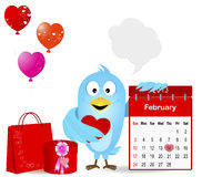 Blue Bird with a symbol calendar for February 2013. Blue bird with calendar, gifts and speech bubbles for your message. Design for Valentines Day. Vector Royalty Free Stock Photo