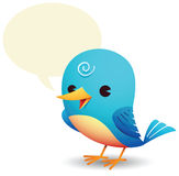 Blue Bird with talk bubble Stock Image