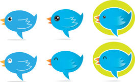 Blue Bird talk icon. Illustration of Blue Bird talking icon Royalty Free Stock Photography
