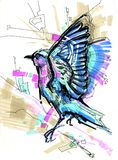 Blue bird thrush. The blue bird of happiness waves wings royalty free illustration