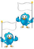 Blue Bird - Thumbs Up Holding Flag Royalty Free Stock Photography