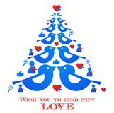 Blue bird tree with social media icons. Wishes for christmas; blue bird tree with social media icons Stock Images