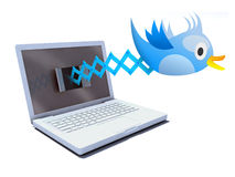 Blue bird tweets and sings on notebook Stock Images