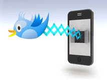 Blue bird tweets and sings on smartphone. Blue Bird Cuckoo tweets and sings on smartphone, 3d illustration Stock Image