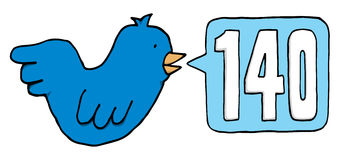 Blue bird twitting 140 characters Royalty Free Stock Photography