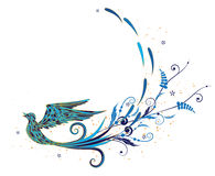 Blue bird. Vector background with stylized blue bird and vegetable elements Stock Image