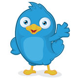 Blue Bird Waving. Clipart Picture of a Blue Bird Cartoon Character Waving Royalty Free Stock Image