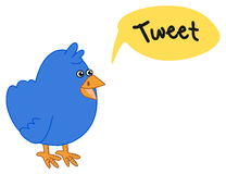 Blue bird who wants to make a tweet. Illustration Stock Photo