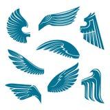 Blue bird wings heraldic design elements Stock Images