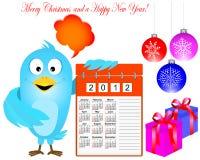 Blue Bird With Calendar. Stock Photo