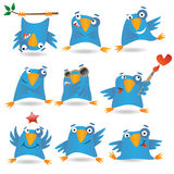 Blue birds. Collection of funny blue birds, vector illustration Royalty Free Stock Photo