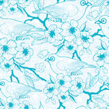 Blue birds with blossoms seamless pattern Royalty Free Stock Photo